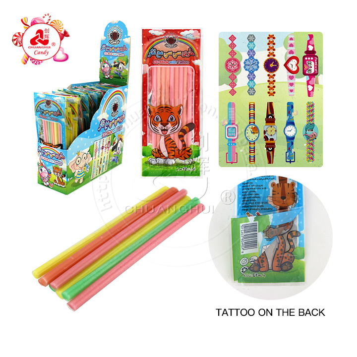 Magic watch tattoo bag with fruity flavor CC stick candy