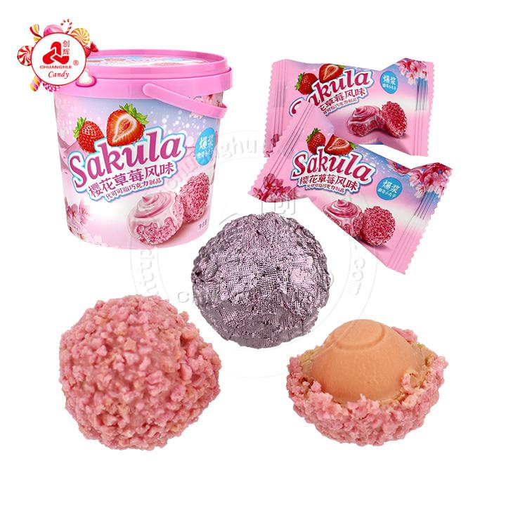 2021 new explosion pulp Sakula Strawberry cream flavor crispy cookie biscuit balls candy in bucket