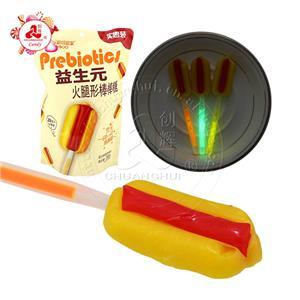 Халяль Конфеты Леденцы в форме хот-дога Флуоресцентные леденцы со вкусом фруктов в пакете