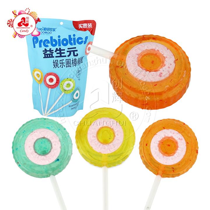 Sucette Halal 2 en 1 prébiotiques Lollipop Roll Sucette en forme de roue de bonbons
