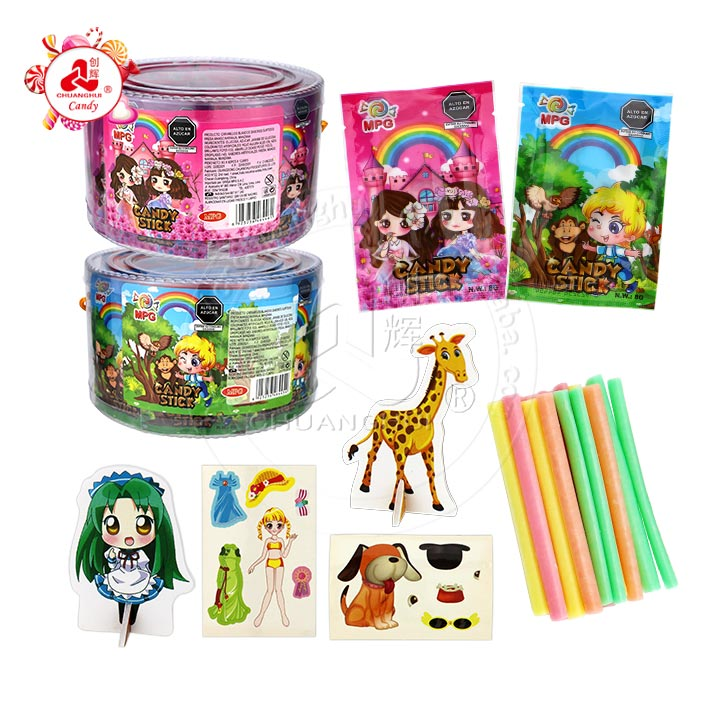 Children candy CC stick powder candy with toy 3D puzzle card, dress sticker