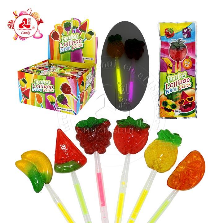 Banane, pastèque, raisin, fraise, ananas, forme orange Sucette fluorescente Fruits Forme Neon Light Lollipop