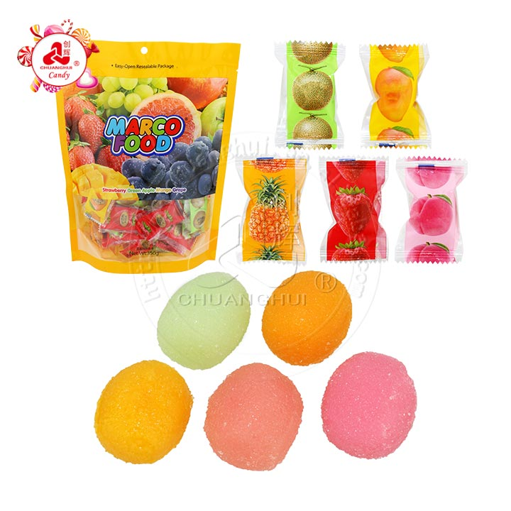 Marco alimentaire sucré saveur de fruits mélangés Macaron boule de bonbons gommeux doux