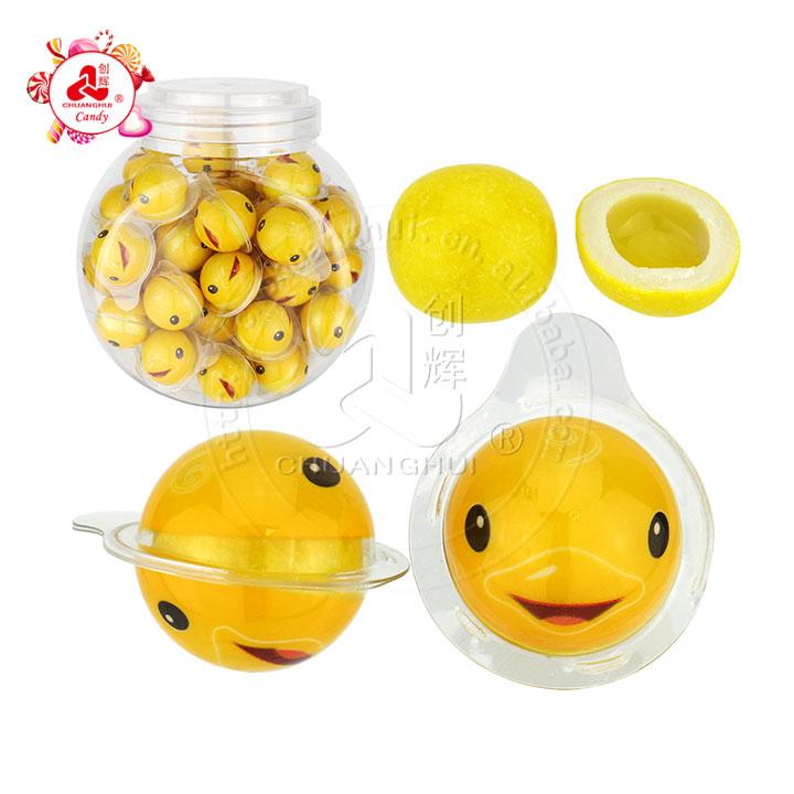 Pato amarillo que empaqueta goma de mascar Mermelada de fruta que llena la bola de goma de mascar