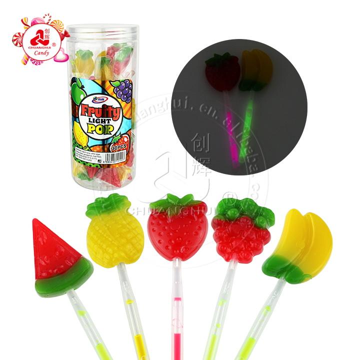 Halal sweet fruit shape lollipop fruits glowing fluorescent lollipop