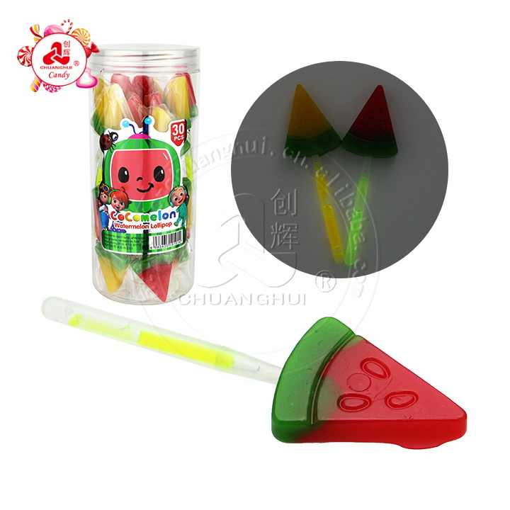 Halal sweet watermelon shape lollipop watermelon fluorescent lollipop
