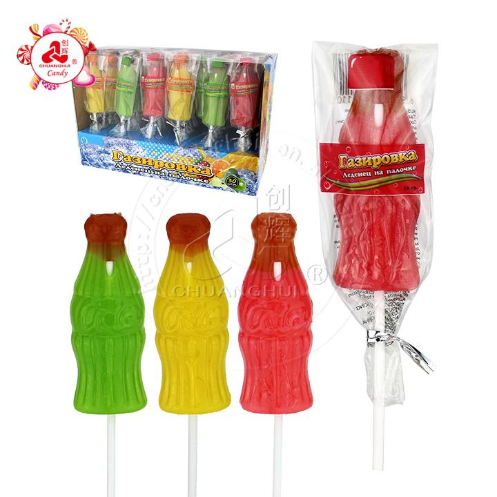 Halal fruit flavor cola drink bottle shape lollipop