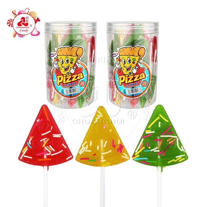 Halal fruit flavor colorful cartoon pizza shape hard lollipop