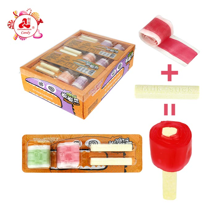 2 In 1 Gummy roll candy + milk stick tablet candy
