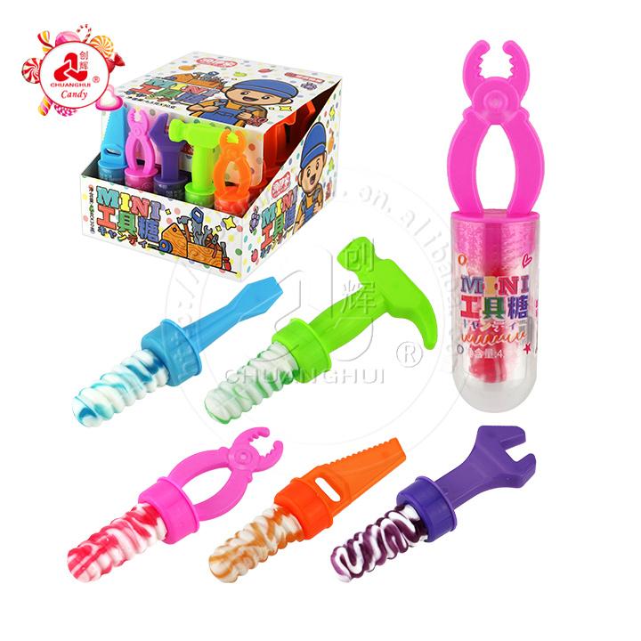Halal mini tools toy with swirl lollipop hard candy