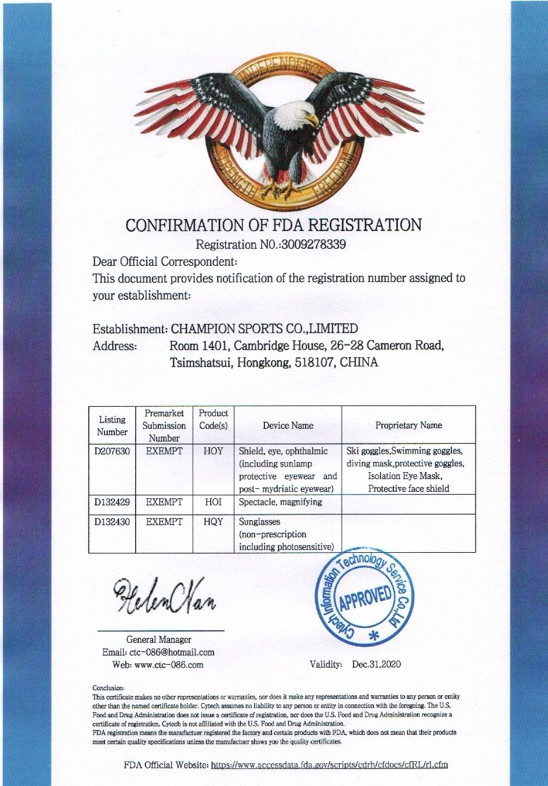 Professional FDA Certificate Approved