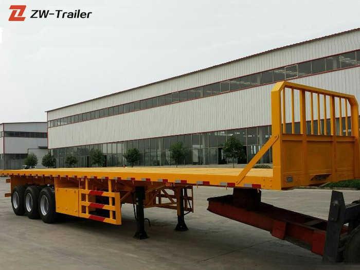 Semirremolque de plataforma plana de tres ejes, 48 pies y 40 toneladas
