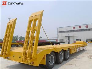Low Flatbed Lowbed Semi Truck Trailer