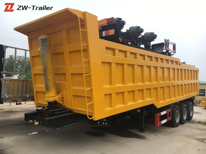 3 Axle End Dump Truck Semi Trailer