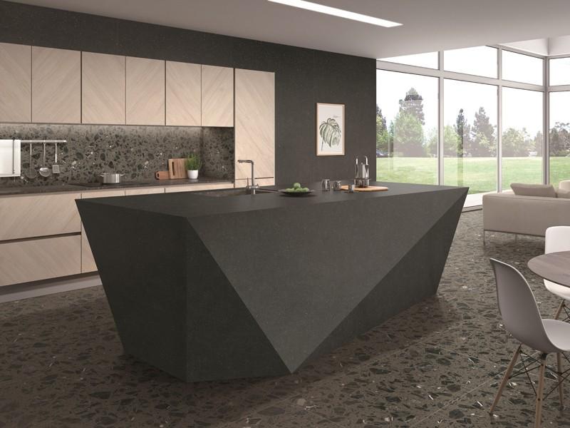 Black Engineered Marble Stain Resistant Tile