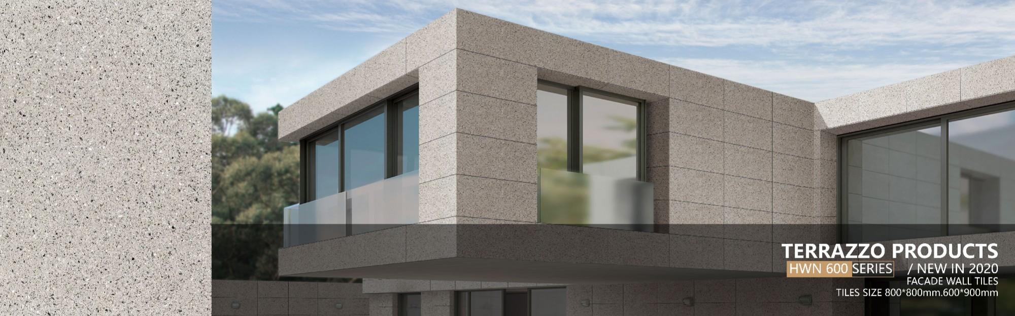 Marble aggregate outdoor terrazzo cladding
