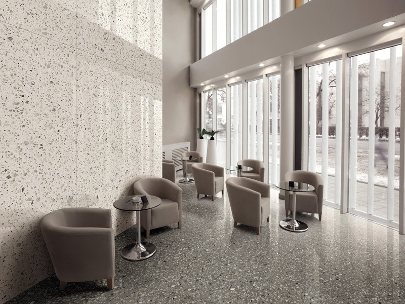 Серые мраморные плитки Терраццо с крупными частицами