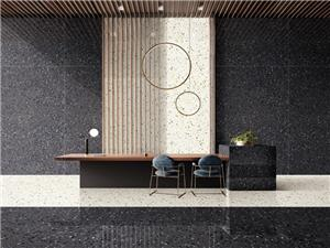 Black White Marble Aggregate Terrazzo Floors Tile