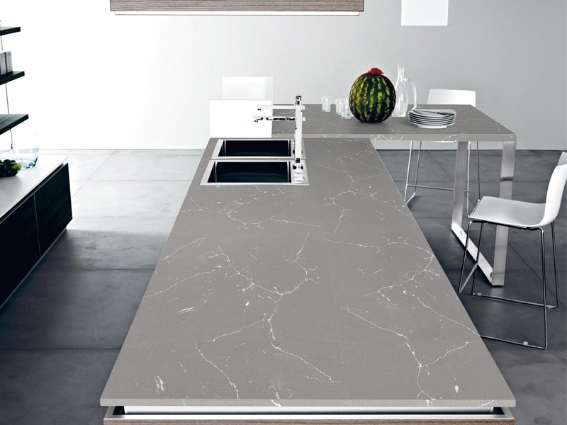 Grey Marble Kitchen Countertops