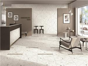 White Engineering Marble Flooring Tile