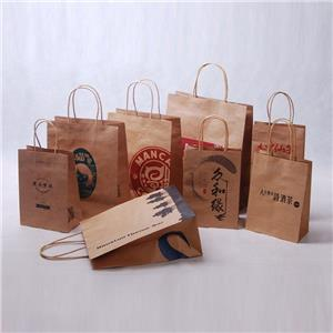 Bolsa de papel con asa trenzada reciclable marrón personalizada