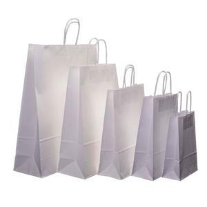 Bolsa de papel con asa retorcida reciclable blanca personalizada