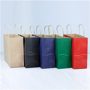 Bolsas de papel con asa trenzada marrón personalizada