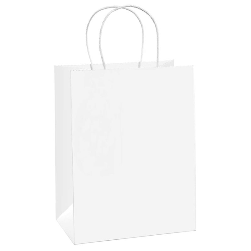 Bolsas de papel Kraft blancas personalizadas con asas de papel retorcidas