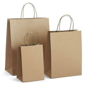 Portadores de asa retorcida reciclables marrones personalizados