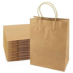 Bolsas de papel Kraft marrón personalizadas con asas de papel retorcidas