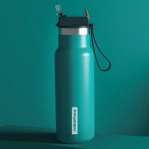 زجاجة ماء معزولة صديقة للبيئة مخصصة للرياضة مع فم واسع