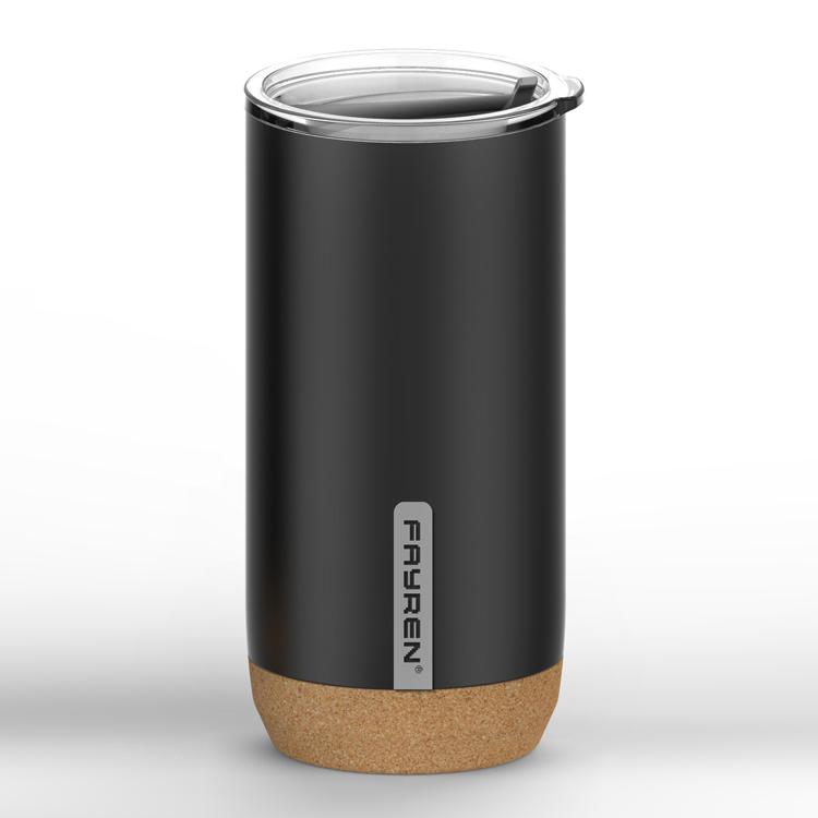 كوب حراري للسفر من الفولاذ المقاوم للصدأ قابل لإعادة الاستخدام وصديق للبيئة مع قاعدة من الفلين