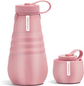 زجاجة ماء قابلة لإعادة الاستخدام وقابلة لإعادة الاستخدام ومضادة للتسرب من السيليكون للسفر