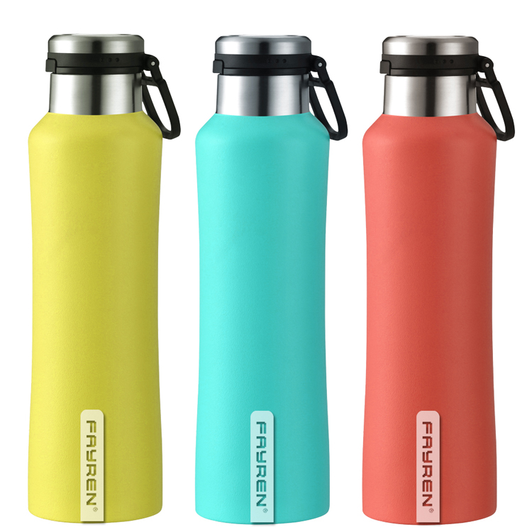 زجاجة ماء فراغية من الفولاذ المقاوم للصدأ مانعة للتسرب مع قارورة معدنية حرارية واسعة الفم للصالة الرياضية