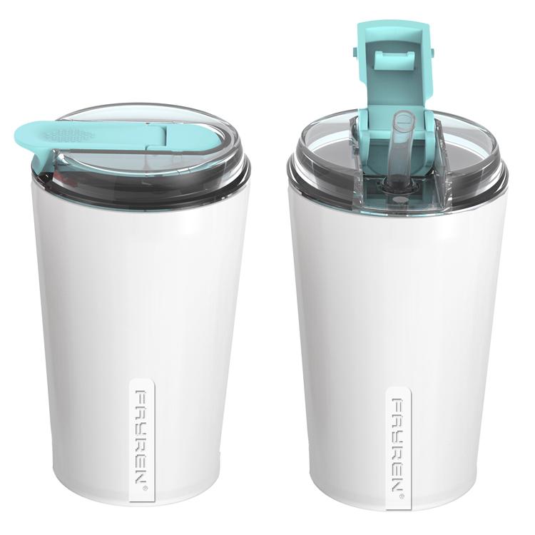 كوب قهوة فاخر قابل لإعادة الاستخدام من الفولاذ المقاوم للصدأ سعة 16 أونصة