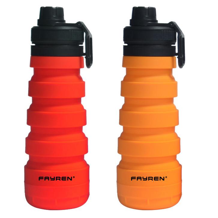 زجاجة ماء شخصية قابلة للطي من السيليكون للتخييم والرياضة المدرسية والسفر