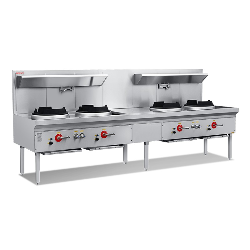 Compact Quadruple Wok Range With Jet Burner