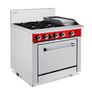 Commercial Gas 4 Burner With 300mm Griddle Oven Ranges
