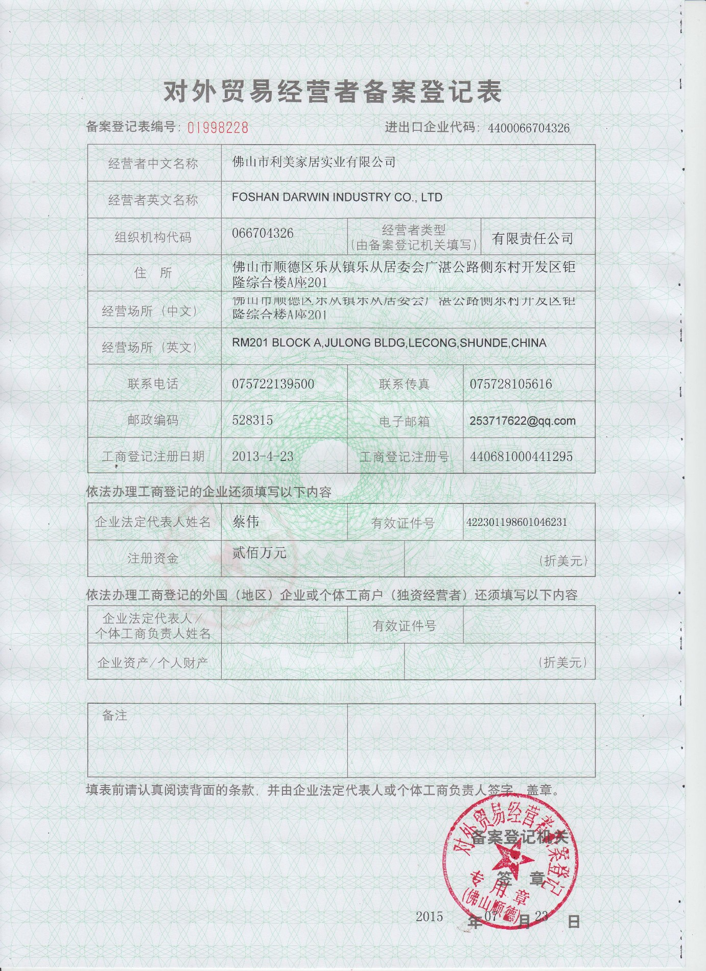Our Export License