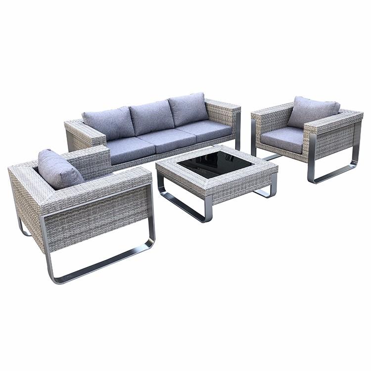 أريكة صالة الخوص الحديثة في الهواء الطلق