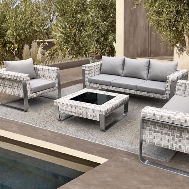 Современный сад на открытом воздухе плетеный диван для отдыха