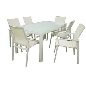 Outdoor Aluminum Dining Table With Glass