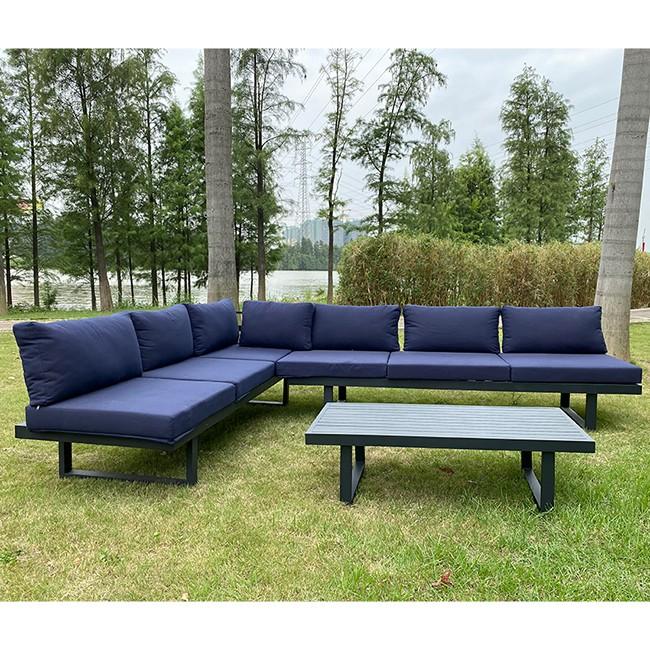 Sofá de jardim de alumínio para móveis de varanda ao ar livre