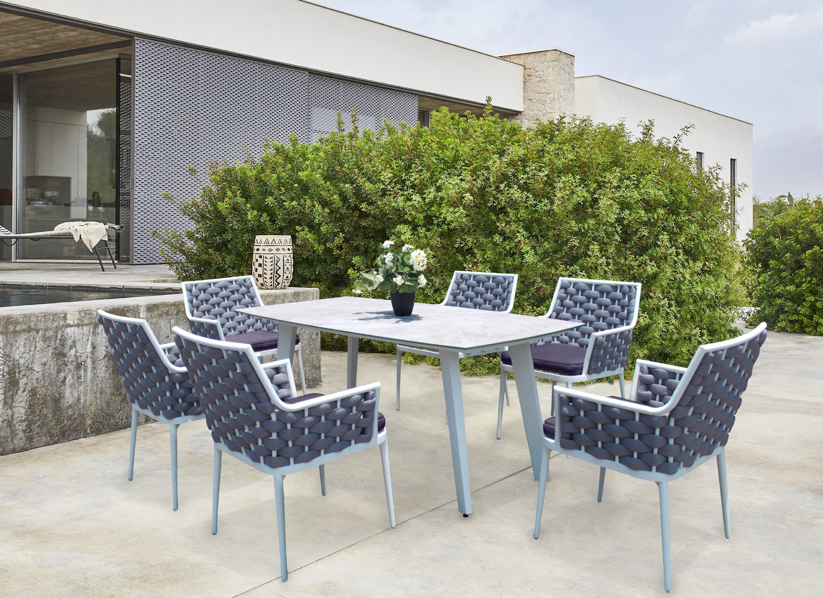 modern rope outdoor dining table and chairs