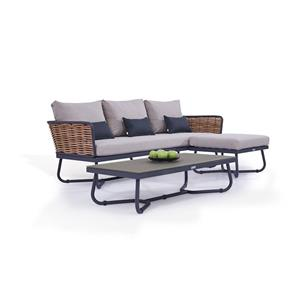 Outdoor Grey Rattan Sofa Chair Couch Set