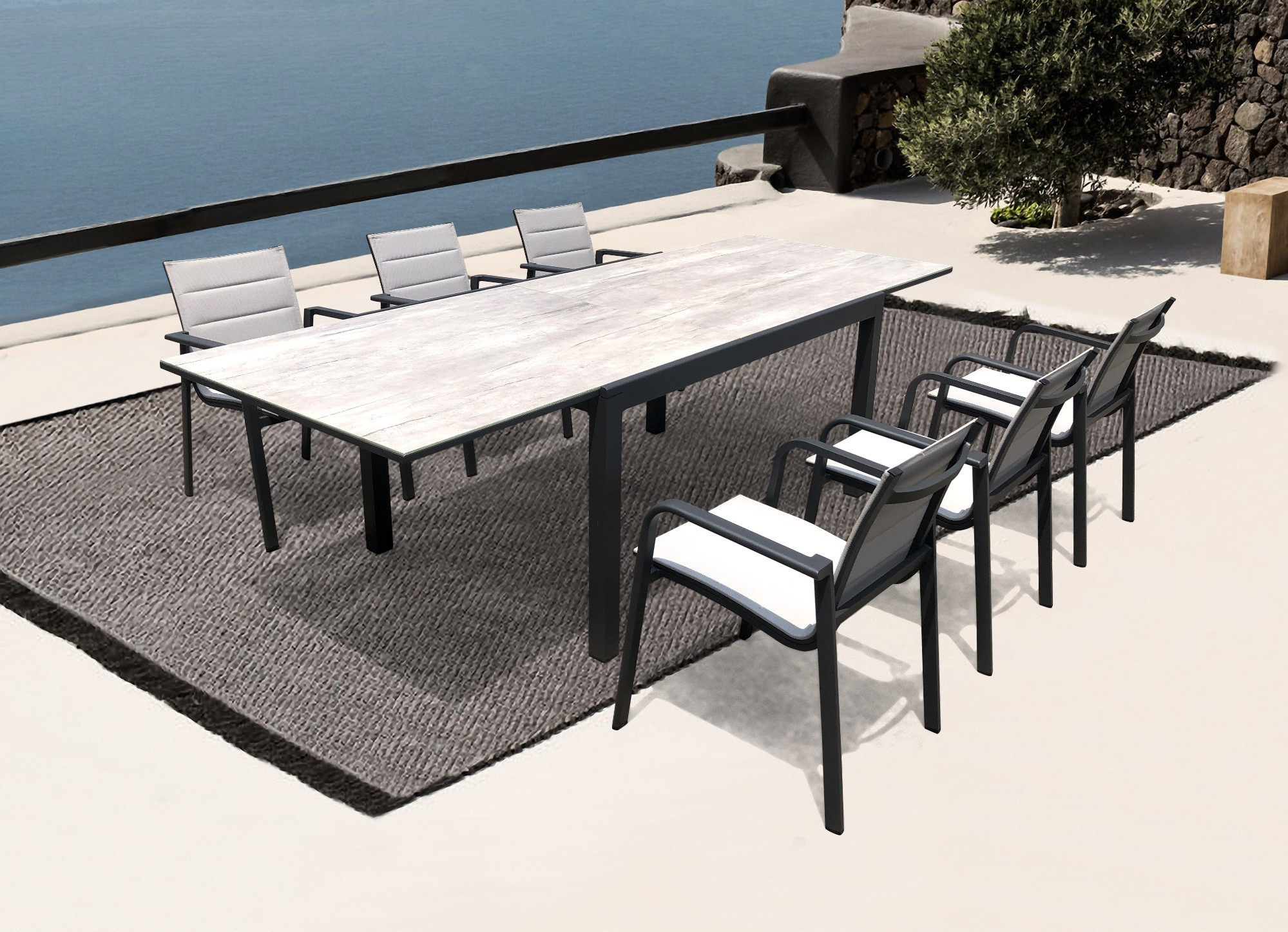 Outdoor Extensible Dining Table And Chair