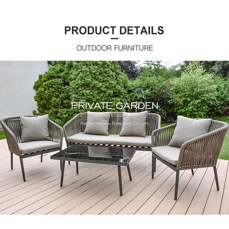 Ensemble de canapé d'extérieur Meubles de jardin en rotin gris