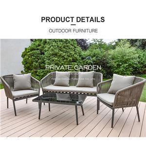 Outdoor Sofa Set Grey Rattan Garden Furniture