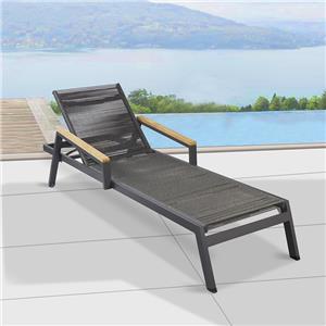 كرسي صالة من الألومنيوم باللون الأسود قابل للتعديل في الهواء الطلق