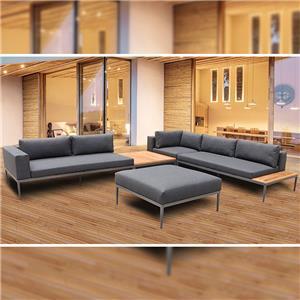 Conjunto de sofá de teca para pátio externo